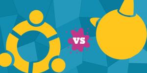 yellow ubuntu logo vs yellow freebsd logo against blue geometric background