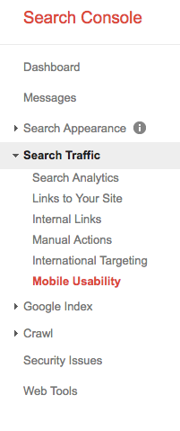 screenshot of google search console webmaster tools mobile friendly analysis