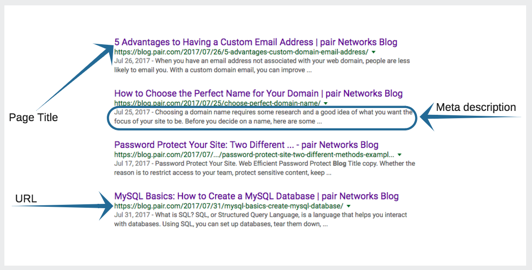 example screenshot of page titles, meta descriptions, and URLs