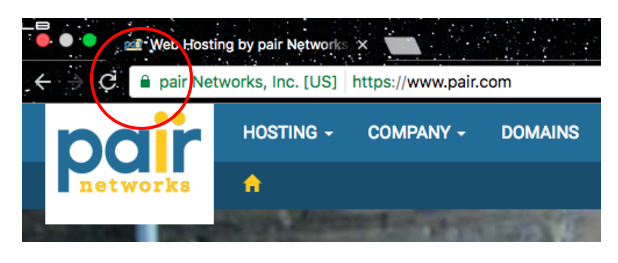 screenshot of pair Network's ssl certificate lock icon