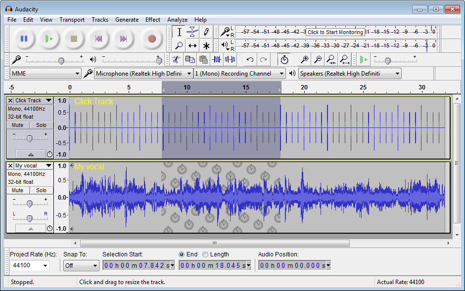 screenshot of audacity tool