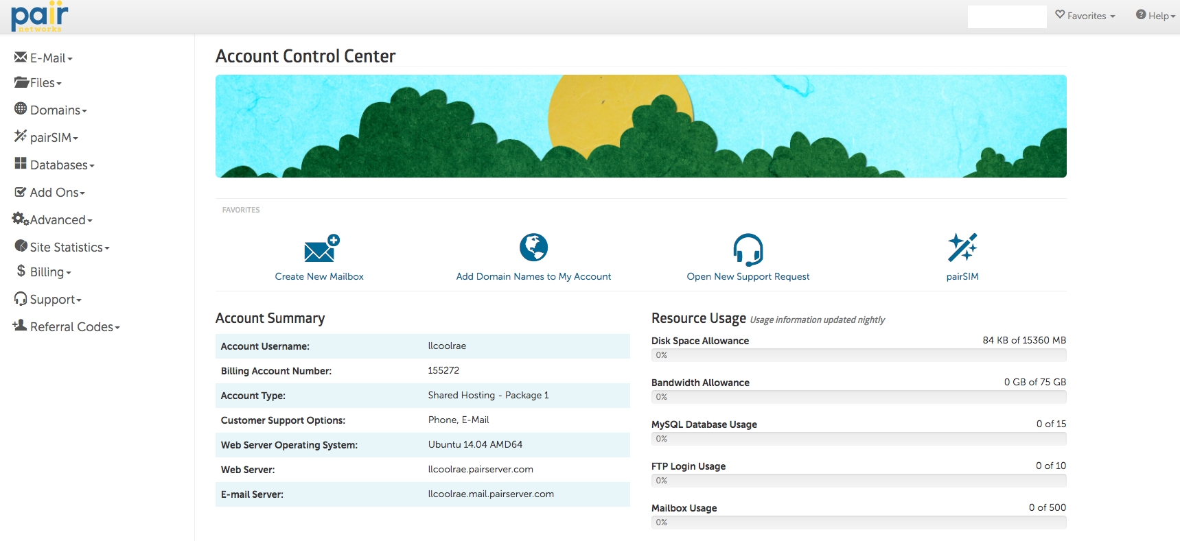 pair networks account control center shared hosting screenshot