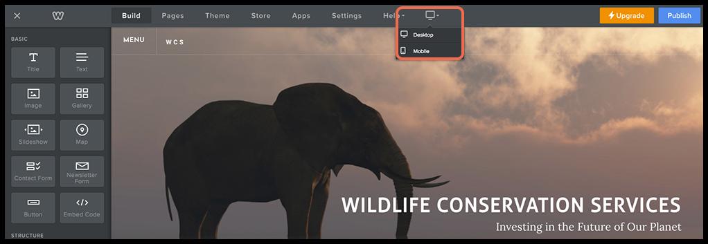 desktop icon in weebly screenshot