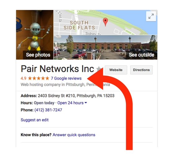 pair networks google listing reviews