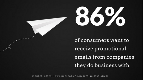 white paper airplane zooming across blackground towards stat: 86% of consumers want to receive promotional emails from companies they do business with (source: hubspot)