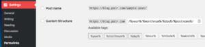 WordPress dashboard screenshot of permalinks settings for URL structure