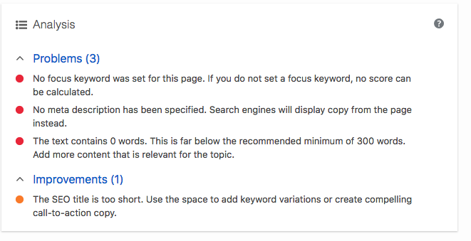 WordPress visual editor dashboard screenshot of Yoast SEO plugin analysis