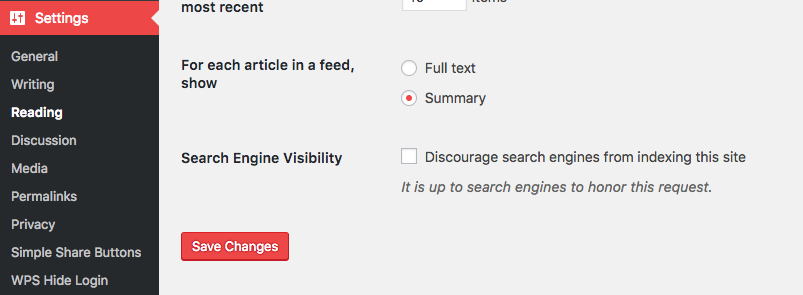 Screen shot of wordpress dashboard settings >> reading menu
