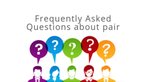 frequently asked questions about pair blog graphic with rainbow silhouette people and thought bubbles with question marks