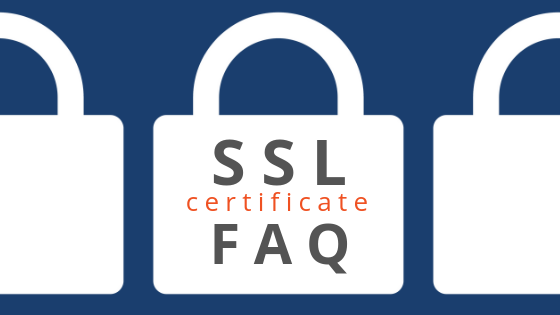 ssl certificate faq blog header graphic with white lock icons against dark blue background and grey and orange text