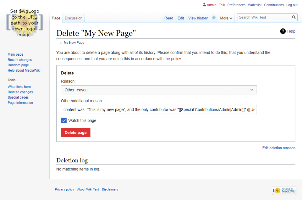 delete page image